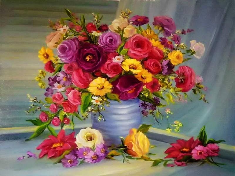 """""""Яркий букет цветов"""" живопись на холсте 40х50см"""