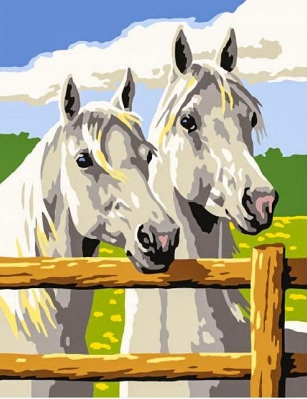 """""""Белые лошади"""" живопись на холсте 30х40см"""