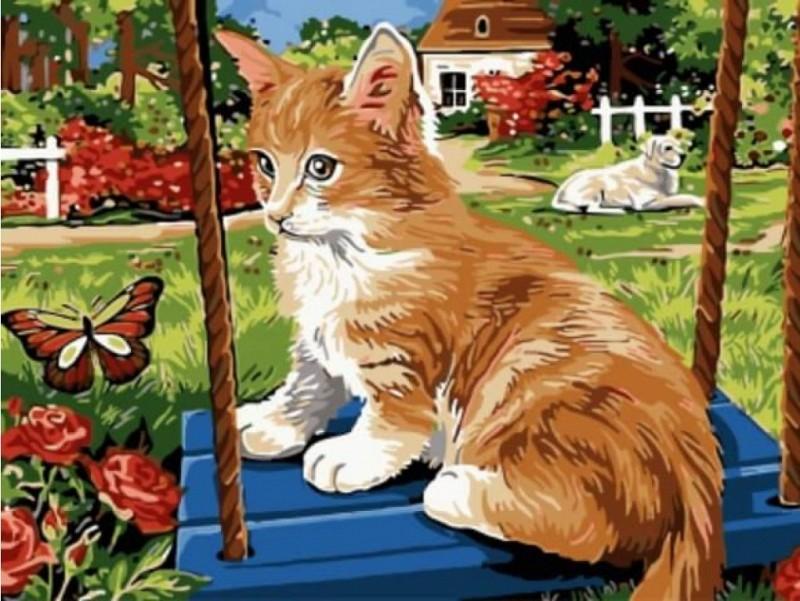 """""""Рыжик в деревне"""" живопись на холсте 30х40см"""