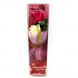 Подарочное мыло в виде букета роз в пластиковой упаковке Especially for You, 28 см, Цвет: Тёмно-розовый