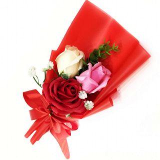Подарочное парфюмированное мыло Букет 3 розы в упаковке, 25 см, Цвет: Красный