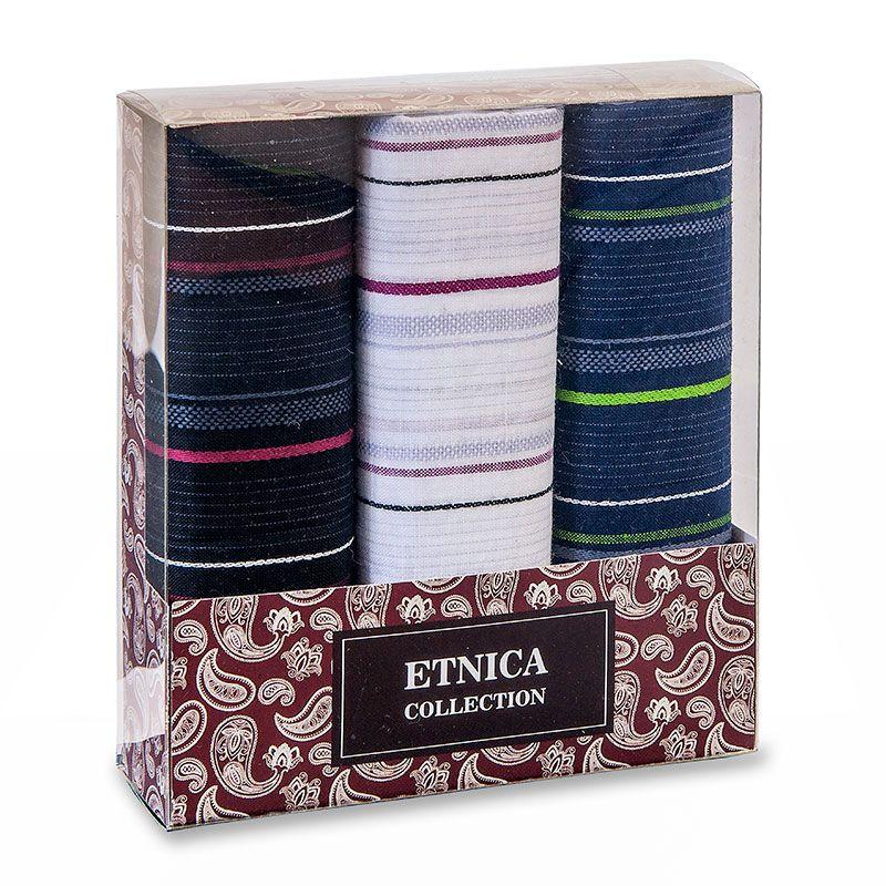 Пд57 Мужские носовые платки в подарочной коробке, 3 шт., 100% х/б