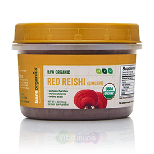BareOrganics Порошок гриба Рейши Red Reishi (Lingzhi) Mushroon Powder (Raw - Organic), 114г