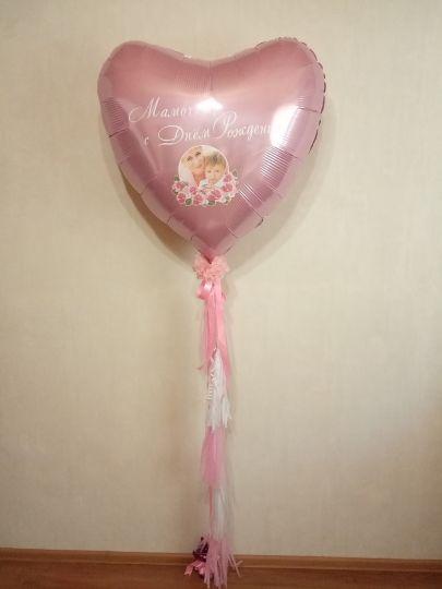 Большой шар с вашим фото, надписью и гирляндой из кистей