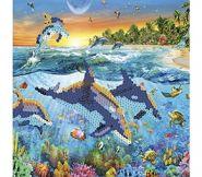 """Картина из пайеток с подрамником """"Дельфины в море"""" 30х30 см (арт. SP30004)"""