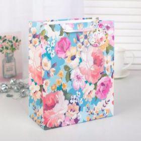 """Пакет подарочный """"Цветы"""", люкс, 18 х 8,5 х 21 см"""