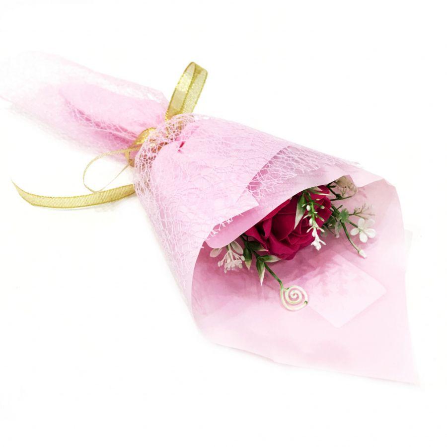 Букет из парфюмированного мыла в бумажной упаковке, 40 см (розовый)