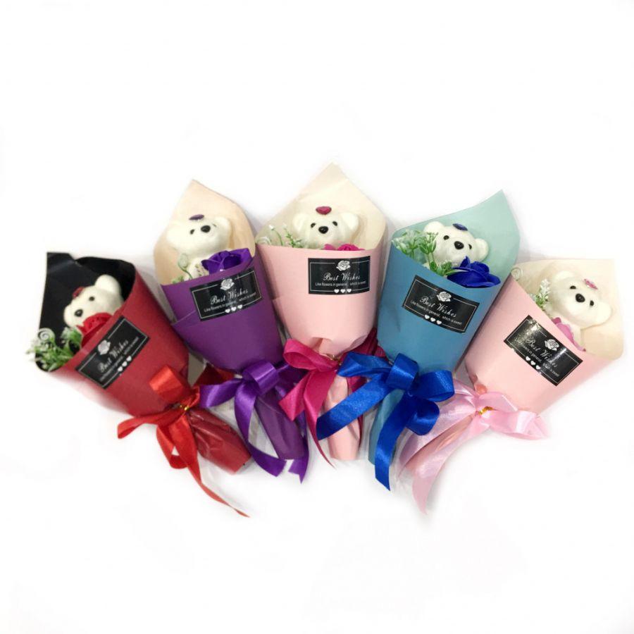 Букет из парфюмированного мыла в виде розы с игрушкой Best Wishes, 25 см