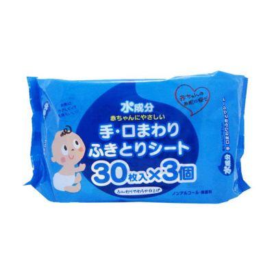 Showa Siko Влажные салфетки для ухода за нежной кожей рук и лица малышей с экстрактом листьев персика и большое количество лосьона 3х30шт 150мм х 200 мм