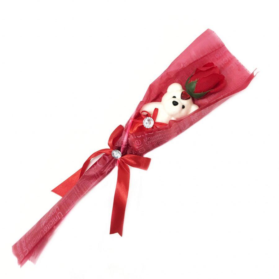 Сувенир ароматизированная роза из мыла с мишкой, 45 см