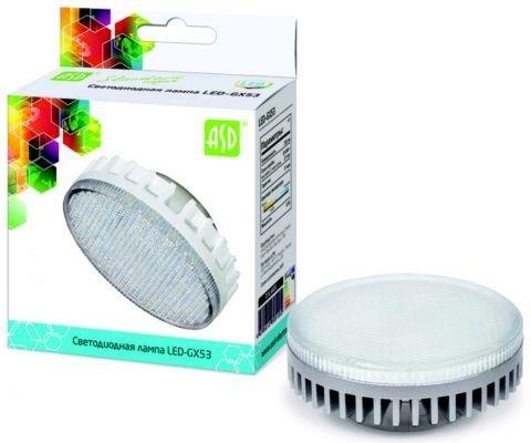 Светодиодная лампа ASD GX53 св/д 10W 4000K 4K 74x29 рифл. стекло пластик standard 5126