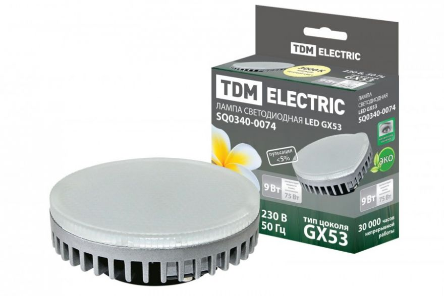 Светодиодная лампа TDM лампа GX53-9 Вт-3000 К (10!) SQ0340-0074