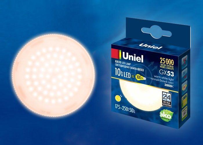Светодиодная лампа Uniel GX53 св/д 10W(900lm) 3000K 2K 75x28 матовая LED-GX53-10W/WW/GX53/FR