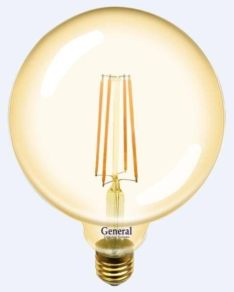 Светодиодная лампа General Шар G125S E27 10W(1025lm) 2700K 2K 125x165 нитевидная, золотая. 655310