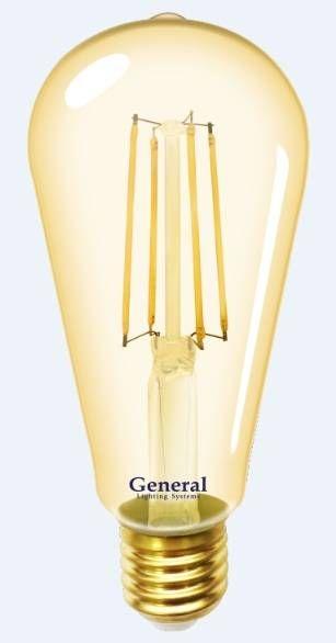 Светодиодная лампа General ST64S E27 8W(750lm) 2700K 2K 64x140 нитевидная, золотая. 655301