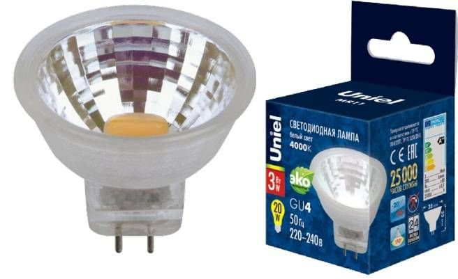 Светодиодная лампа Uniel G4 MR11 12V 3W(200lm 110°) 4000K 4K пластик 35x35 без стекла LED-MR11-3W/NW/GU4 GLZ21TR