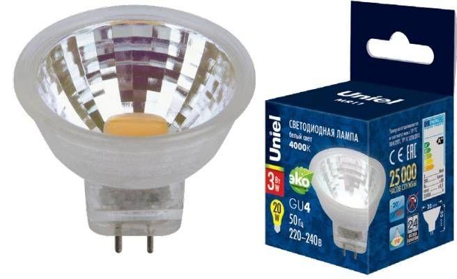 Светодиодная лампа Uniel G4 MR11 12V 3W(200lm 110°) 4000K 4K пластик 35x35 без стекла LED-MR11-3W/NW/GU4 GLZ21TR