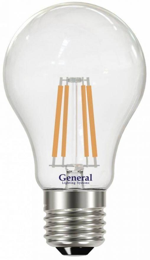 Светодиодная лампа General ЛОН A60 E27 10W(960lm) 6500K 6K 60x105 филамент (нитевидная) прозр. 649300
