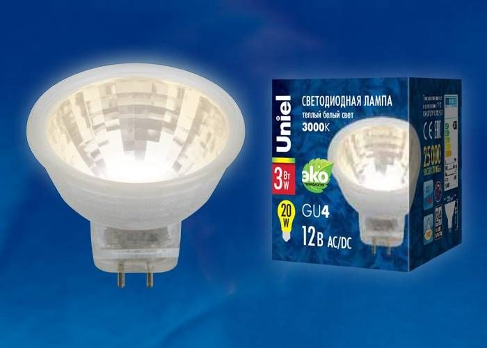 Светодиодная лампа Uniel G4 MR11 220V 3W(200lm 110°) 3000K 2K пластик 35x35 без стекла LED-MR11-3W/WW/GU4/220V GLZ21TR