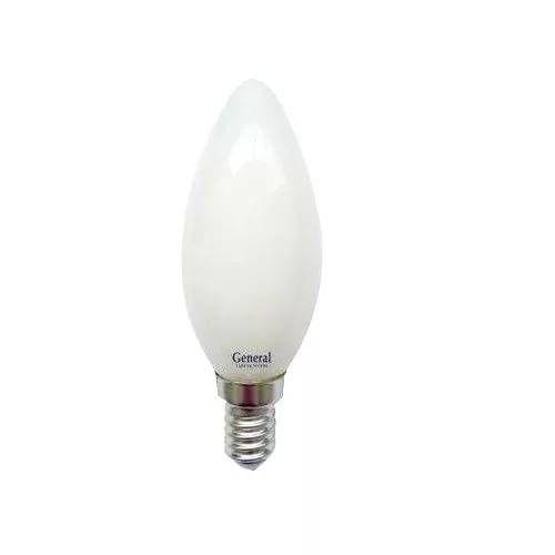 Светодиодная лампа General Свеча E14 8W(650lm) 6500K 6K 35x98 филамент (нитевидная), матовая 649994
