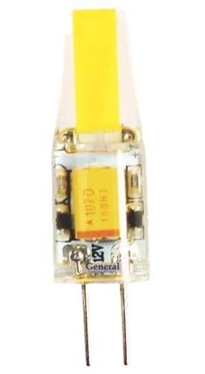 Светодиодная лампа General G4 12V 3W(250lm) 4500K 4K 38x13 COB силикон BL5 (цена за 1шт.) 652700