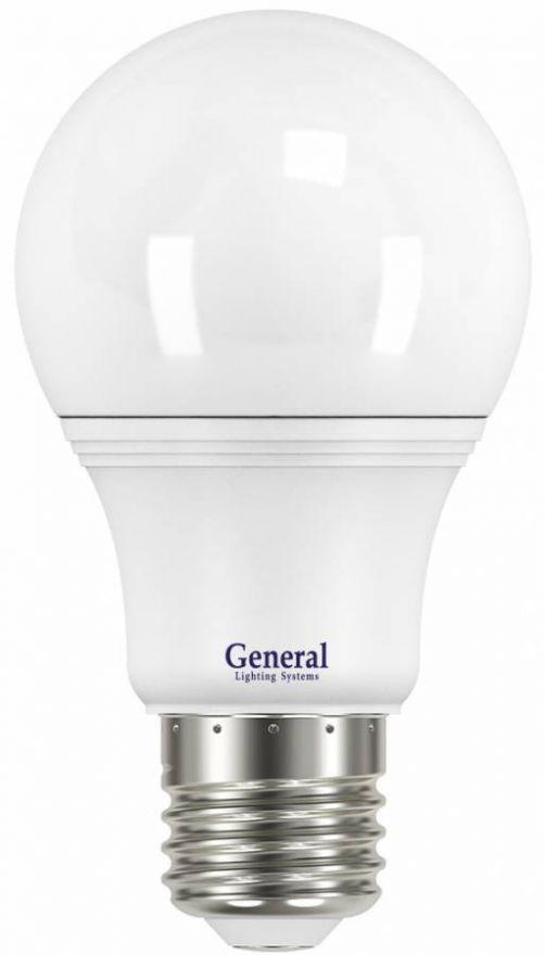 Светодиодная лампа General ЛОН A60 E27 14W(1200lm) 4500K 4K 60x110 пластик/алюмин. 637100