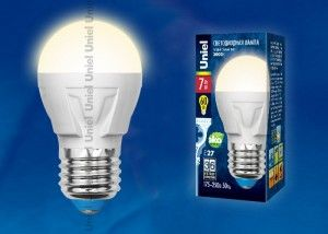 Светодиодная лампа Uniel шар G45 E27 7W(600lm 240°) 3000K 2K матовая 45x84 термопл. ЯРКАЯ LED-G45 7W/WW/E27/FR РФ