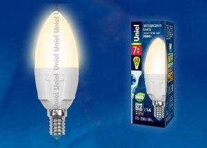 Светодиодная лампа Uniel свеча C37 E14 7W(600lm 240°) 3000K 2K матовая 37x109 термопл. ЯРКАЯ LED-C37 7W/WW/E14/FR РФ