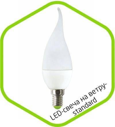 Светодиодная лампа ASD Свеча на ветру C37 E14 5W 3000К 2K 115x37 пластик/алюм standard 4518