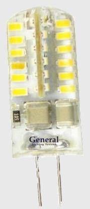 Светодиодная лампа General G4 220V 3W(150lm) 4500K 4K 36x10 силикон BL5 (цена за 1шт.) 651300