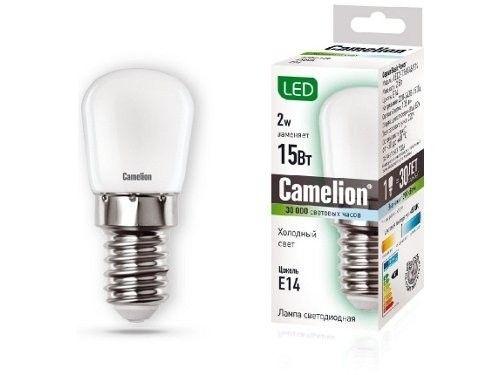 Светодиодная лампа Camelion T26 E14 2W(105lm 220°) 4500K 4K матовая 51x22 для холодильников и вытяжек LED2-T26/845/E14