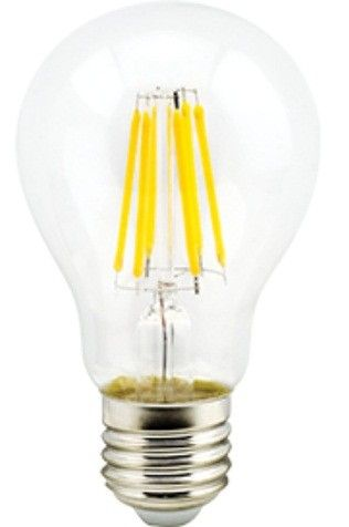 Светодиодная лампа Ecola ЛОН A60 E27 10W 6500K 6K прозр. 105x60 филамент (нитевидная), 360° Premium N7LD10ELC