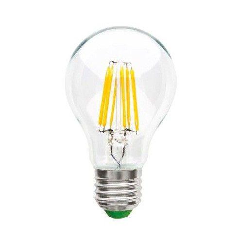 Светодиодная лампа Ecola ЛОН A60 E27 8W 2700K 2K прозр. 105x60 филамент (нитевидная), 360° Premium N7LW80ELC