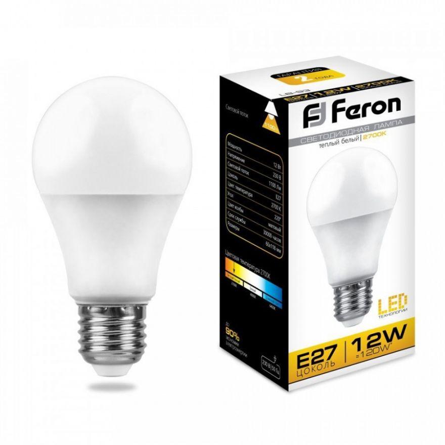 Светодиодная лампа Feron ЛОН A60 E27 12W(1100lm 270°) 2700K 2K матовая 118x60, LB-93 25489