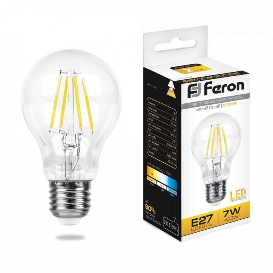 Светодиодная лампа Feron ЛОН A60 филамент E27 7W(740lm 270°) 2700K 2K прозрачная 103x60, LB-57 25569