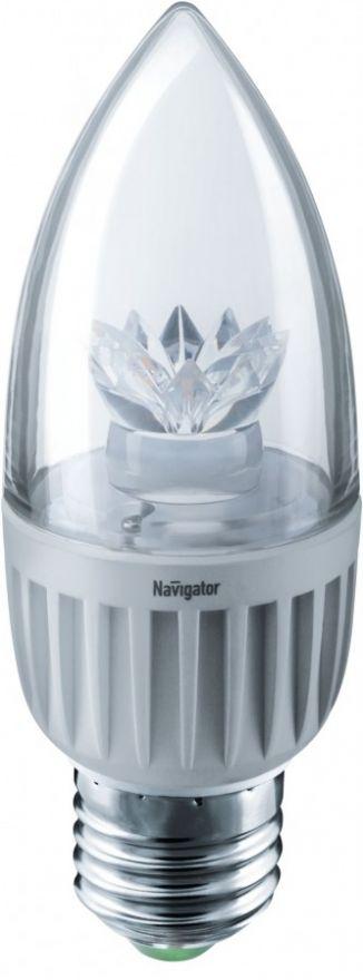 Светодиодная лампа Navigator Свеча C37 E27 7W(500lm) 2700 2K 37х106 прозр. NLL-C37-7-230-2.7K-E27 71849