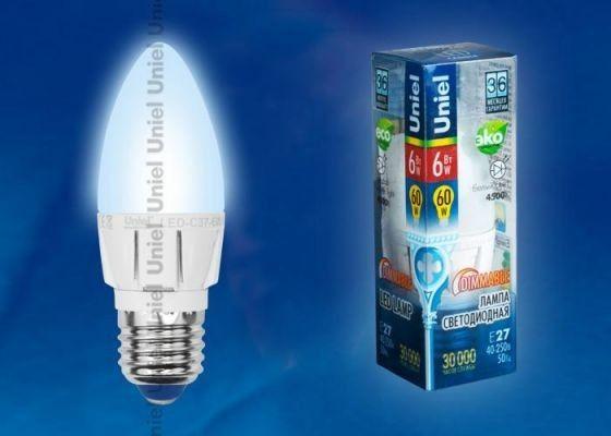 Светодиодная лампа Uniel Свеча диммир. E27 6W(560lm 240°) 4500 4K матовая 106x37 алюм. LED-C37-6W/NW/E27/FR/DIM