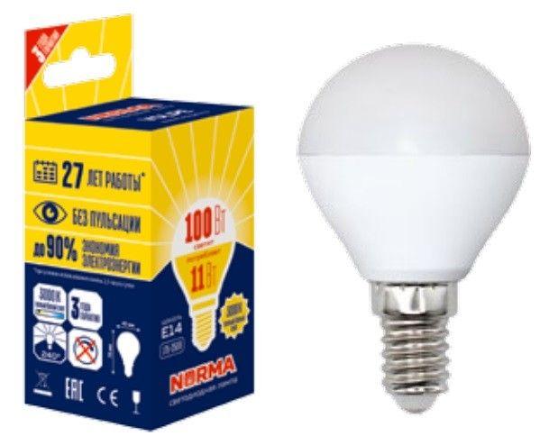Светодиодная лампа Volpe NORMA шар G45 E14 11W(900lm) 3000K 2K матовая 45x78 LED-G45-11W/WW/E14/FR/NR