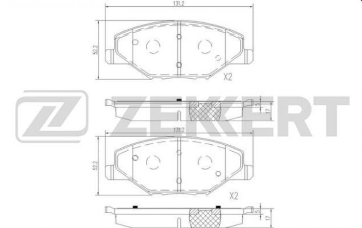 Колодки тормозные передние VW Polo 10- ан.BS1251 Zekkert