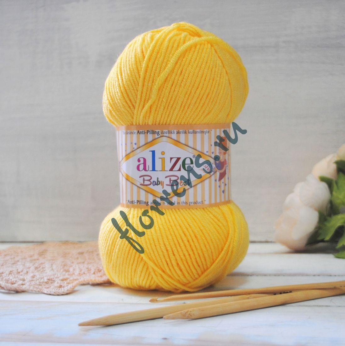 """Пряжа """"Alize"""" Baby best / 113 желтый"""