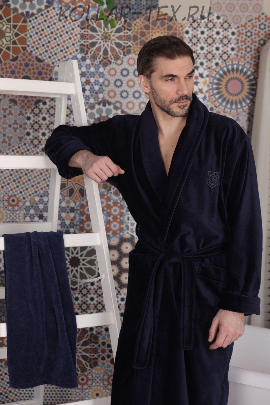 Классический мужской халат Aron Navy, Five Wien