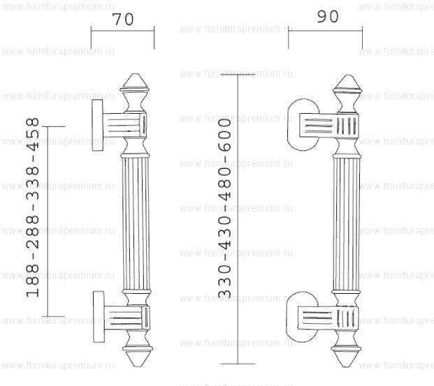 Ручка-скоба Pasini 0220 IMPERO 600.  Длина 600 мм.