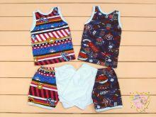 """Костюм с морскими рисунками для мальчиков: майка, шорты kA-KS049-SUk (супрем ротация) """"Мамин Малыш"""" код 01527 (вид сзади)"""