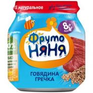 Пюре ФрутоНяня из говядины с гречкой и морковью для детей с 8 месяцев, 100г