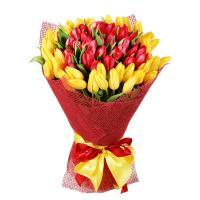 Букет из 51 тюльпана (красные и желтые)