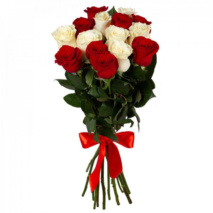 Розы красные и белые
