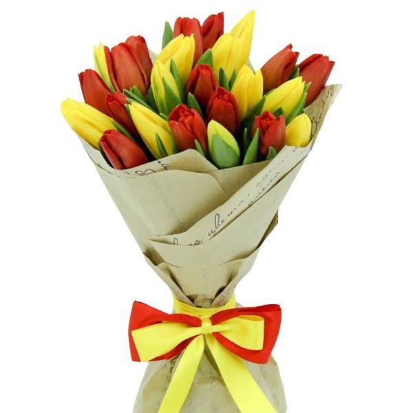 Тюльпан 25 шт (красный+желтый)